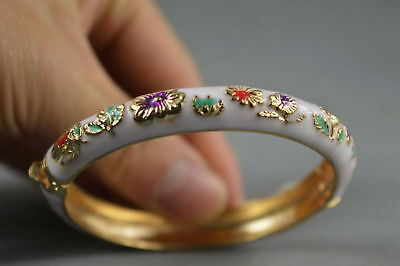 Collectable Handmade Cloisonne Carve Beauty Flower Royal Auspicious Bracelet