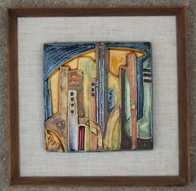 Abstract Mid Century Modern City Scape Ceramic Tile