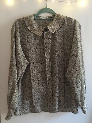 Beautiful Vintage Jaeger Shirt, Grey With Silver Specks And Floral Pattern, M