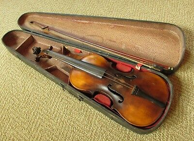 Antique Violin Labeled: Jacobus Stainer In Abfam 1671 - for Parts or Restoration