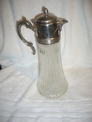 Vintage Cut Glass & Silver Plate Tall Water Pitcher Decanter