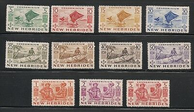 NEW-HEBRIDES-BRITISH-1953-Sc-66-76-SG-68-78-Canoes-F-VF-MNH