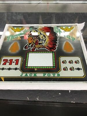 Vintage slot machine glass///Antique Native American Indian THUNDER CHIEF glass