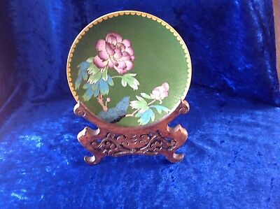 Chinese Early 20th Century Cloisonné Dish On A Decorative Wooden Stand