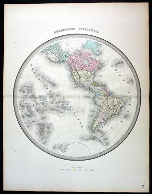 ca. 1850 America North South continent map Karte Andriveau Goujon