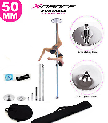 X Dance Pole Chrome Exotic Static Spinning 9 FT Pole Dance Exercise Stripper