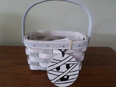 Longaberger Basket  Halloween Mummy Ghoulie with tie-on  ~ with Protector