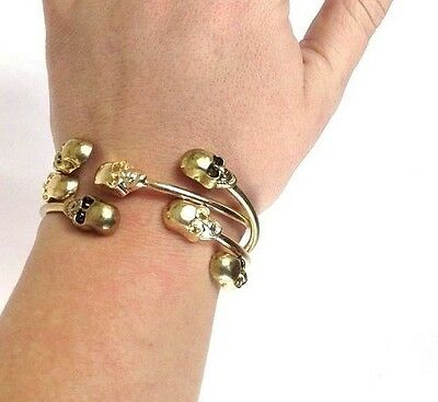 Skull Bracelets Gold Tone or Old Brass Look Halloween Goth Lot of 4