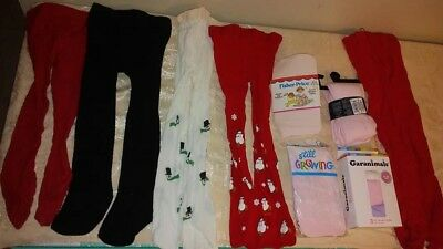 baby girl TODDLER tights lot 0-6, 6-18 AND 18-36 MONTHS CHRISTMAS NEW PINK RED