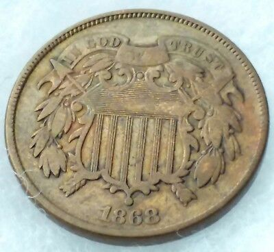 1868 Two Cent Piece/Extra Fine Condition/Free Shipping!!