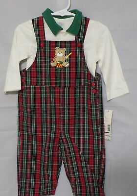 New Little Wonders Infant Boy's White Long Sleeve Shirt Tartan Overalls Set