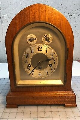 Large Antique Junghans Germany Mantle Clock — Working with Westminster Chimes.