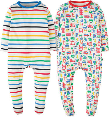 Baby Boys FRUGI Scrumptious 2 PACK Babygrows/Sleepsuits/Rompers 3-6 Mths BNWT