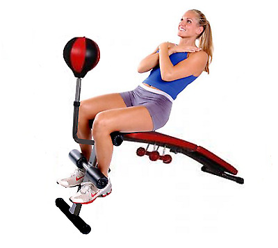 Adjustable Curved Workout Bench Folding with resistance bands boxing speed ball