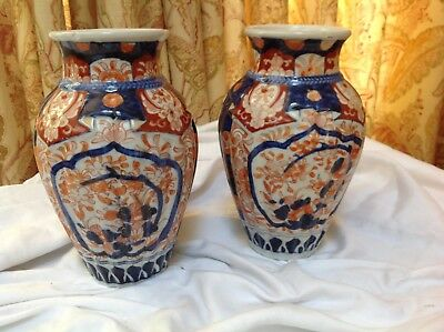 Matched pair Antique Japanese Hand-painted Vase, Old Imari Ware, 19C