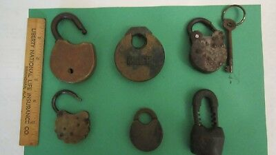 ANTIQUE VINTAGE PADLOCK LOCK LOT Of 6 COLLECTION Mixed Lot 1 key