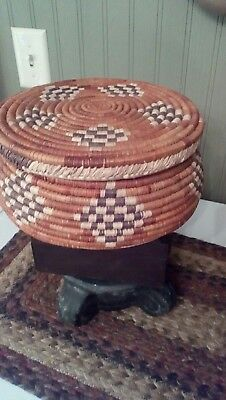 Native American Coiled Wedding Basket With Lid