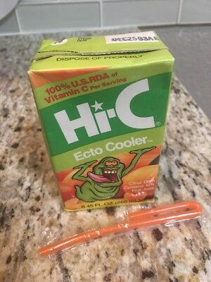 New Original Full Green Hi-C Ecto Cooler Ghostbusters Slimer Sealed With Straw