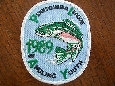 Pa Pennsylvania Game Fish Commission Patch 1989 Rainbow  Angling For Youth