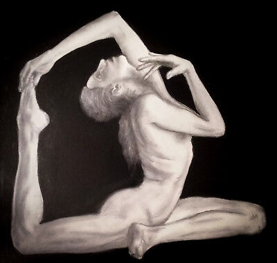 Original Female Nude Yoga Pose Charcoal Drawing by Aileen Carroll