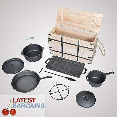Dutch Oven 9 Piece Cooking Set Camping BBQ Picnic Cookware Cast Iron