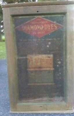 DIAMOND DYES Wood & Tin Cabinet Double Door Shelves Counter Advertising Display