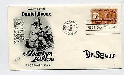 RARE Dr. SEUSS signed Daniel Boone first day cover GREEN EGGS and HAM !!