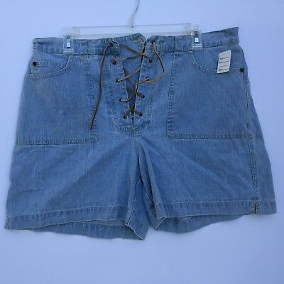 Womens Shorts GLoria Vanderbilt Front Lace Size 14 White 100% Cotton Light Blue