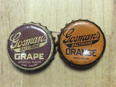2 Different  Gosman's   Soda  Bottle Caps-   Cork Lined - Used