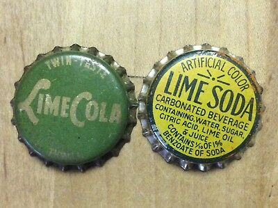 2 Different  Lime  Soda  Bottle Caps-   Cork Lined - Used