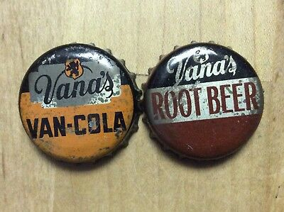2 Different Vana's  Soda  Bottle Caps-   Cork Lined - Used