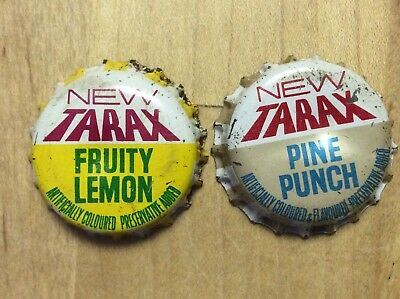 2 Different Tarax  Soda  Bottle Caps-   Cork Lined - Used