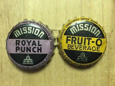 2 Different  Mission  Soda  Bottle Caps-   Cork Lined - Used