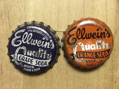 2 Different  Ellwein's  Soda  Bottle Caps-   Plastic / Cork Lined - Used