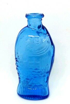 Vintage Glass Miniature Bottle Taiwan Fisch's Bitters Fish Shaped Blue