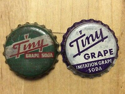 2 Different Tiny Grape  Soda  Bottle Caps-    Cork Lined - Used