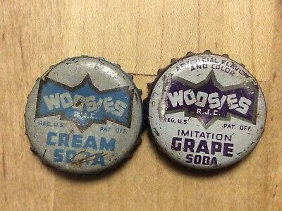 2 Different  Woosies  Soda  Bottle Caps-    Cork Lined - Used
