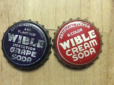 2 Different  Wible  Soda  Bottle Cap -   Cork Lined - Used