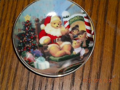 Avon Collectible Plate VISIT WITH SANTA Mini Porcelain Plate Bear Discontinued