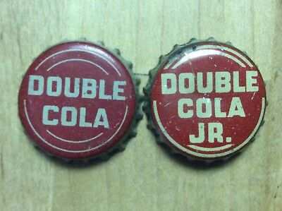 2 Different  Double Cola  Soda  Bottle Cap -   Cork Lined - Used