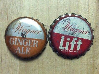 2 Different   Wagner  Soda  Bottle Caps -   Cork Lined - Used