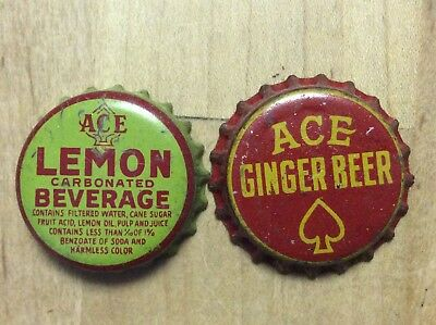 2 Different    Ace   Soda  Bottle Caps -   Cork Lined - Used