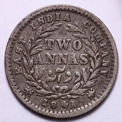1841 British India 2 Annas Silver Coin   FREE S/H To USA
