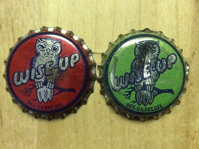 2 Different   Wise - Up   Soda  Bottle Caps -   Cork Lined - Used