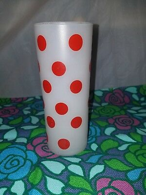 Vintage Anchor Hocking Fire King Polka Dot Frosted Glass Red White 16 oz