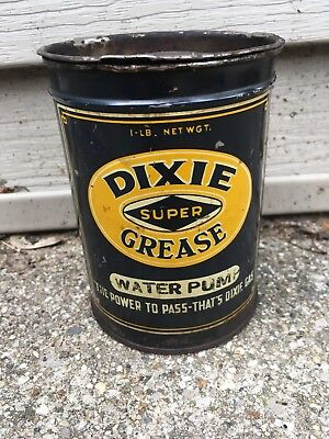 Vintage RARE Dixie (Michigan) 1 lb grease tin oil can metal NO RESERVE!!