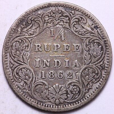 1862 British India 1/4 Rupee Silver Coin    FREE S/H To USA