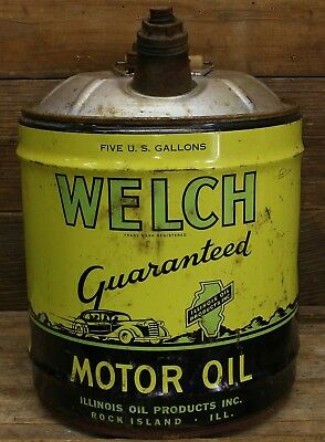 Vintage WELCH Guaranteed MOTOR OIL 5 Gallon Can Rock Island ILLINOIS OIL PRODUCT