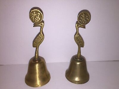 """VINTAGE BRASS METAL SMALL 4"""" BIRD SERVANT/DINNER BELL INDIA or Asian COLLECTIBLE"""