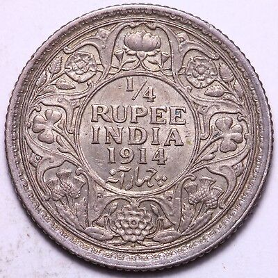 1914 British India 1/4 Rupee Silver Coin    FREE S/H To USA